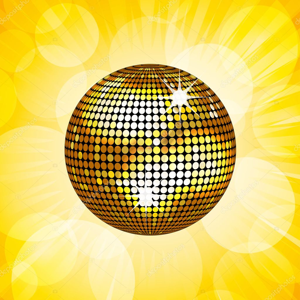 Gold disco ball and lens flare background — Stock Vector ...