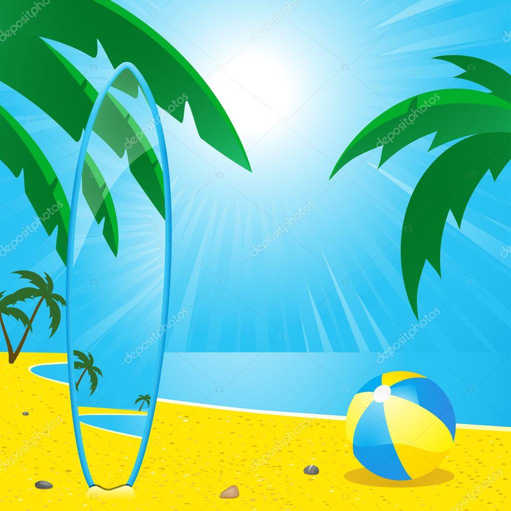 夏季海滩和冲浪板 — 图库矢量图像08 elaineitalia