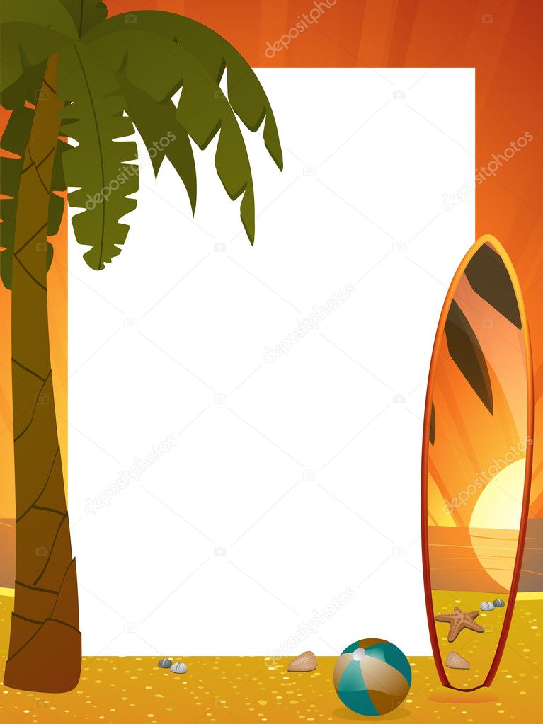 Summer border with surfboard, palm tree and beach ball  Stock Vector #7659590