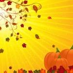 Autumn floruish and pumpkins landscape — Stock Vector #7660357
