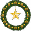 Royalty-Free Stock Vector Image: Christmas wreath and gold star