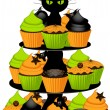 Halloween cupcake stand — Stock Vector