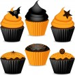 Set of halloween cupcakes — Stock Vector