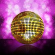 Sparkling golden disco ball on a glowing purple background — Stock Vector #7661047