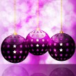 Glowing purple christmas baubles — Stock Vector