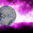 Sparkling silver disco ball on a glowing purple background — Stock Vector