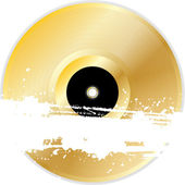 Gold vinyl record with grunge banner — Stock Vector