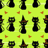 Halloween black cat seamless background — Stock Vector