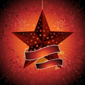 Christmas star and banner — Stock Vector