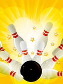 Bowling strike on starburst background — Stock Vector