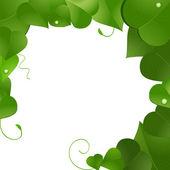 Lush green leaf border — Stock Vector