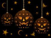 Hanging halloween lanterns — Stock Vector