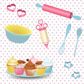 Retro baking background — Stock Vector