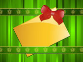 Gold Christmas message tag on a green background — Stock Vector