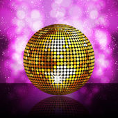 Sparkling golden disco ball on a glowing purple background — Stock Vector