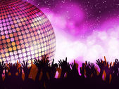 Glowing disco party and crowd — Stock Vector