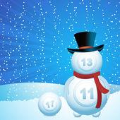 Bingo lottery ball snow man — Stock Vector