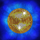 Gold disco ball and sparkling blue background — Stock Vector
