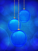 Blue glass Christmas bauble background — Stock Vector