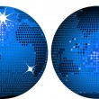 Blue mosaic world globes — Stockvectorbeeld