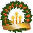 Stock Vector: Christmas wreath and candles