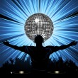 DJ party and disco ball — Stock Vector #7926169