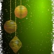 Green and gold Christmas baubles — Imagen vectorial