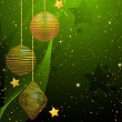 Green and gold Christmas bauble background — Vector de stock