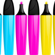 Royalty-Free Stock Vector Image: Highlighter pens and lids