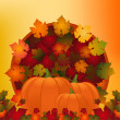 Pumpkin and autumn leaves — Stock Vector