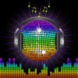 Rainbow discoball and headphones — Stock Vector #7928236