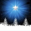 Shining star and christmas trees — Stock Vector