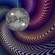 Silver disco ball and swirling background — Stock Vector