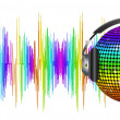 Royalty-Free Stock Vector Image: Spectrum sound waves and disco ball