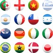 World cup nation flag spheres — Stock Vector