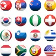 Set of 3D spheres with flags  — Stock Vector