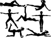 Aerobics silhouettes — Stock Vector