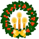 Christmas candles and wreath — Stock Vector