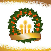 Christmas wreath and candles2 — Stock Vector