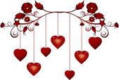 Dangling valentine hearts — Stock Vector