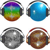 Discoball and headphones set — Stock Vector