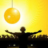 DJ crowd and disco ball — Stock Vector