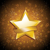 Gold celebration star and banner — Vector de stock
