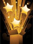 Gold Christmas box and balloons — Stock Vector