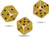 Gold mosaic dice and shadows — Stock Vector