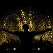 Gold mosaic dj and crowd — Stock Vector