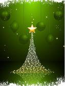 Grün und gold-weihnachtsbaum-hintergrund-portrait — Stockvektor