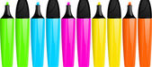 Highlighter pens and lids — Stock Vector
