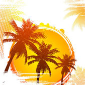 Hot tropical sunset — Stock Vector