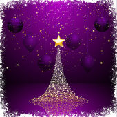 Purple and gold Christmas tree background2 — Stock Vector